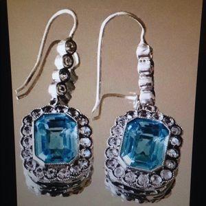 Vintage silver blue topaz earrings